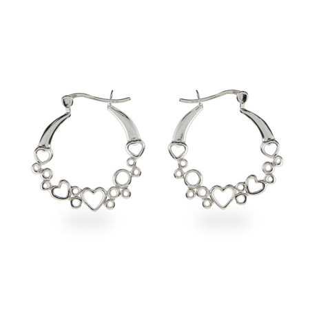 Jennifer's Sterling Silver Heart Hoop Earrings