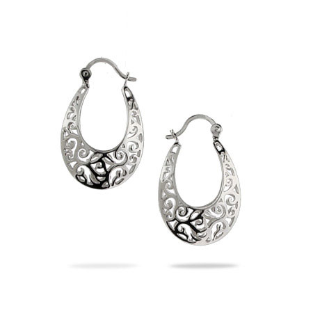 Filigree Bali Style Oval Sterling Silver Hoop Earrings