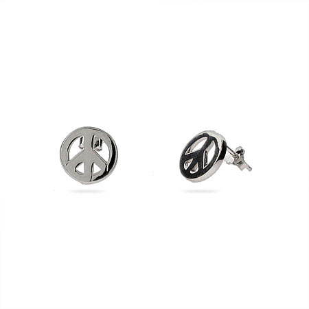 Petite Sterling Silver Peace Sign Earrings