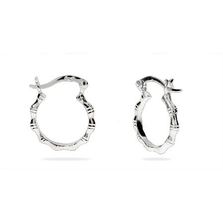 Sterling Silver .5 Inch Bamboo Hoop Earrings