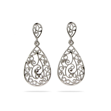 Sterling Silver Vintage Filigree Teardrop Earrings