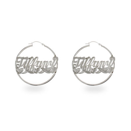 Small Sterling Silver Love Style Script Name Earrings