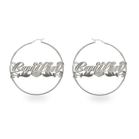 Medium Sterling Silver Peace-Dove Style Script Name Earrings