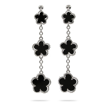 Designer Style Onyx Clover Earrings