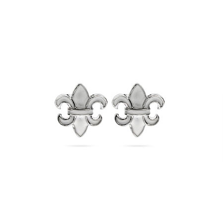 Designer Style White Enamel Fleur de Lis Stud Earrings