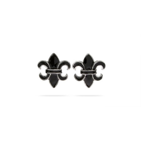 Designer Style Black Enamel Fleur de Lis Stud Earrings