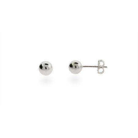 Classic 6mm Mens Silver Bead Earrings