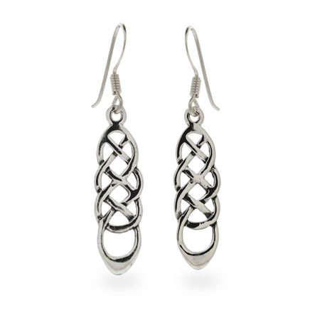 Sterling Silver Long Celtic Weave Earrings