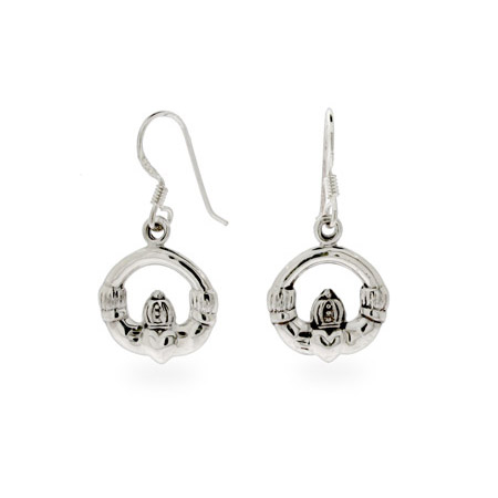 Sterling Silver Dangle Claddagh Earrings