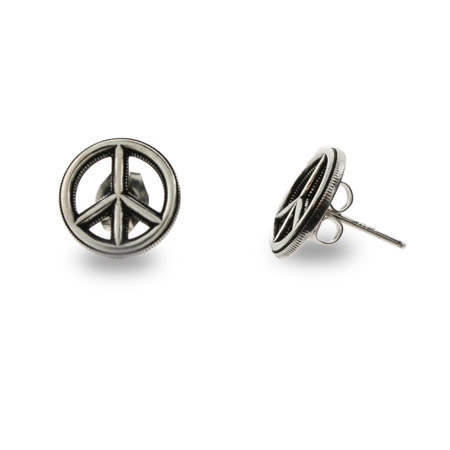 Bali Style Peace Sign Silver Stud Earrings