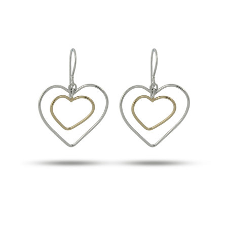Two Tone Silver-n-Gold Double Heart Earrings