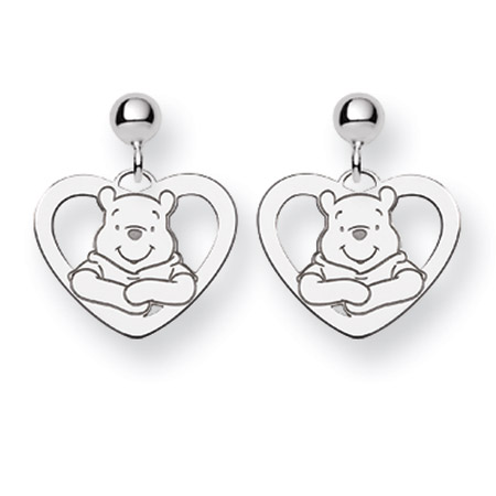 Sterling Silver Winnie The Pooh Earrings - Officially Licensed Disney Jewelry