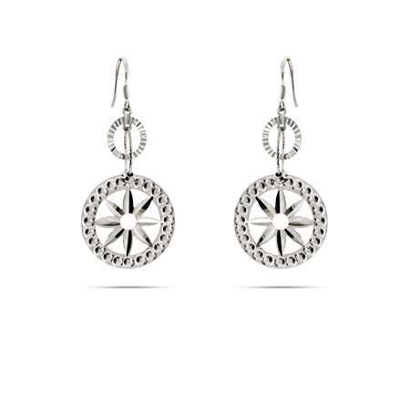 Sterling Silver Round Star Flower Drop Earrings