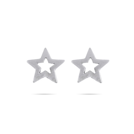 Sterling Silver Star Stencil Stud Earrings