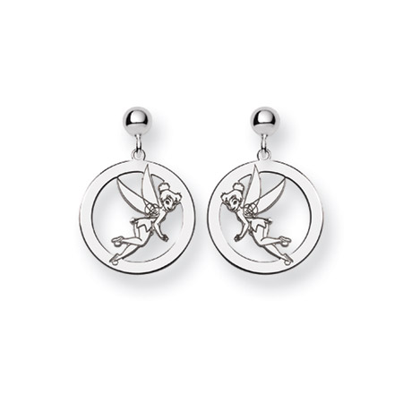 Sterling Silver Round Drop Tinkerbell Earrings - Officially Licensed Disney Jewelry