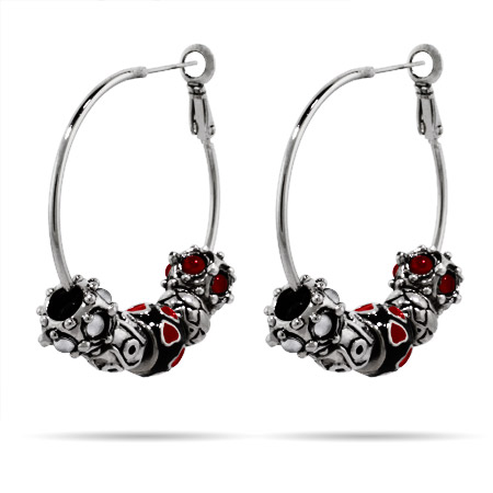 Oriana Bead Hoop Earrings - Pandora Bead & Bracelet Compatible