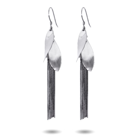 Sterling Silver Oval Drop Tassel Earrings