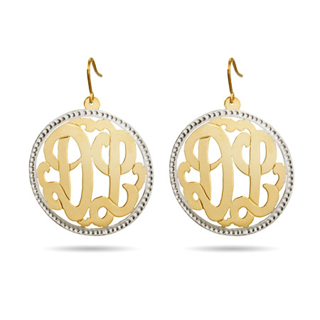 Round Gold Vermeil Custom Monogram Dangle Earrings