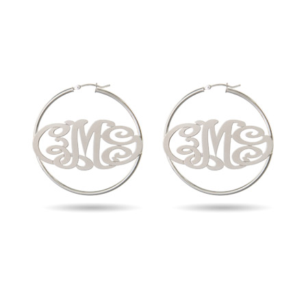 Sterling Silver Custom Monogram Hoop Earrings