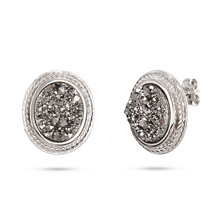 Oval Sterling Silver Cabled Shimmering Dusk Drusy Earrings