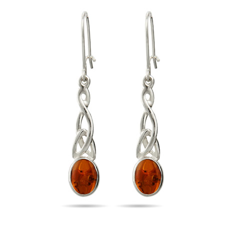 Oval Cut Baltic Amber Celtic Knot Leverback Earrings