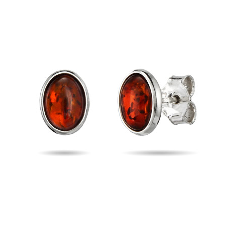 Oval Cut Sterling Silver Amber Stud Earrings