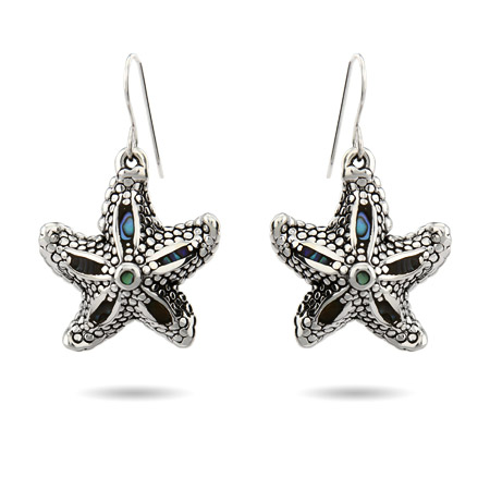 Sterling Silver Abalone Shell Dangle Starfish Earrings