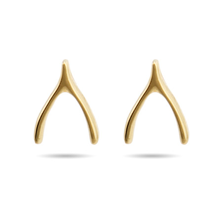 Gold Vermeil Wishbone Stud Earrings