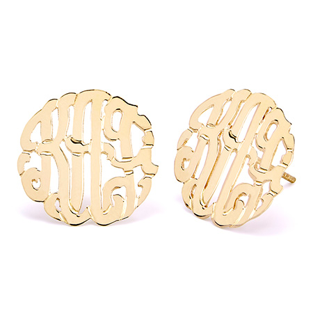Gold Vermeil Custom Monogram Stud Earrings