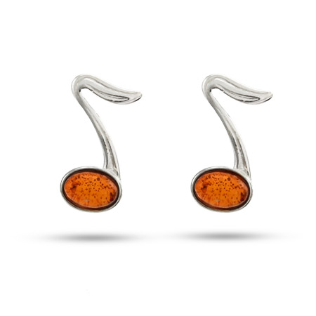 Sterling Silver Baltic Amber Music Note Earrings