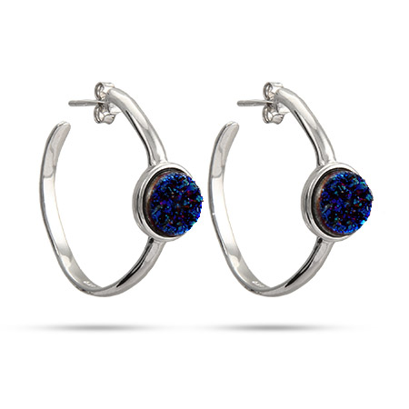 Sterling Silver Blue Drusy Hoop Earrings