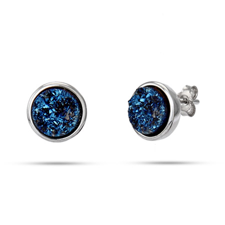 Sterling Silver Blue Drusy Quartz Round Earrings