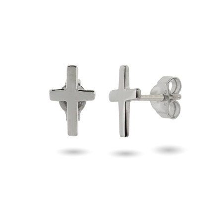 Petite Sterling Silver Cross Stud Earrings