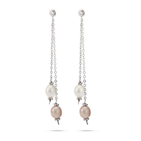 White and Pink Freshwater Pearl Triple Strand Earrings