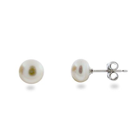 6mm White Freshwater Pearl and Sterling Silver Stud Earrings
