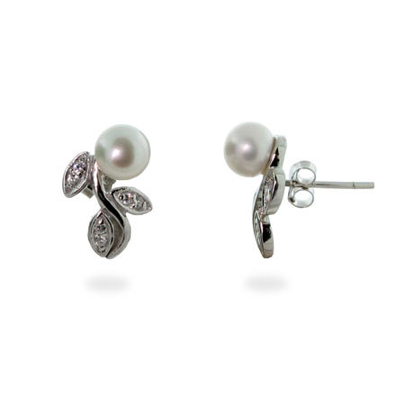 Silver Freshwater Pearl Stud Earrings on Cubic Zirconia Vine