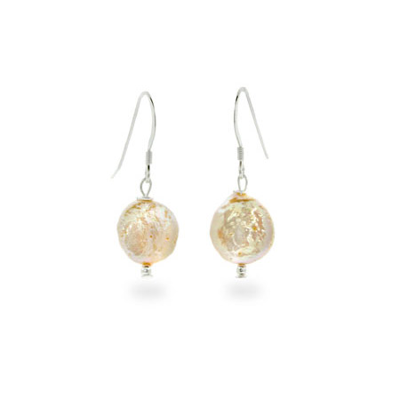 Sterling Silver Freshwater Champagne Coin Pearl Earrings