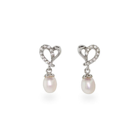 CZ Heart Freshwater Pearl Drop Sterling Silver Earrings