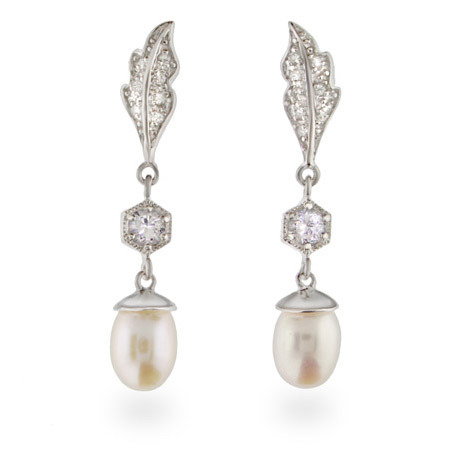 Elegant Sparkling CZ Leaf Freshwater Pearl Drop Earrings