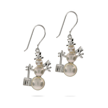 Frosty the Snowman Freshwater Pearl Earrings