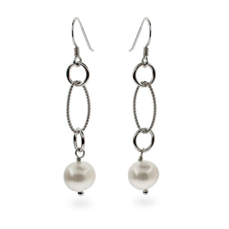 Designer Style Freshwater Pearl Oval Cable Link Earrings