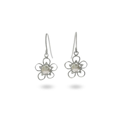 Pretty Freshwater Pearl and CZ Flower Drop Earrings
