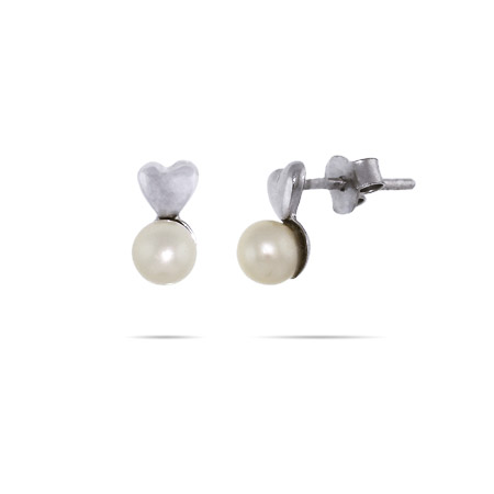 Petite Puffed Heart with Pearl Drop Stud Earrings