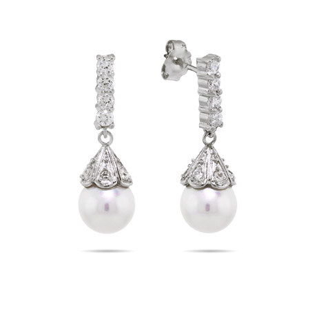 Gabrielle's Elegant Pearl Drop CZ Earrings