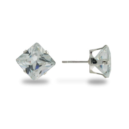 Sterling Silver 6mm Princess Cut Diamond CZ Stud Earrings
