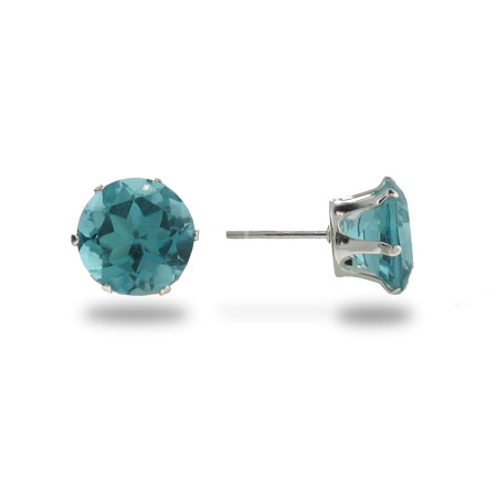 Sterling Silver 8mm Aquamarine Cubic Zirconia Stud Earrings