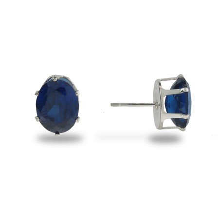 Sterling Silver and Sapphire Cubic Zirconia Stud Earrings