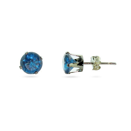 Sterling Silver 6mm Blue Topaz Cubic Zirconia Stud Earrings