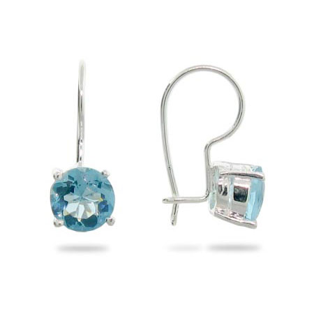 Sterling Silver and Blue Topaz CZ Leverback Earrings