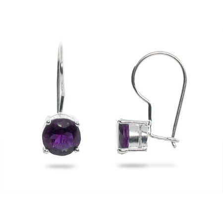 Sterling Silver Leverback Earrings with Amethyst CZ